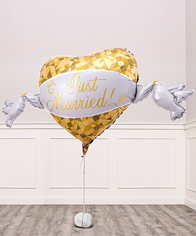 Riesenballon Golden Heart Just Married und Champagner Veuve Clicquot