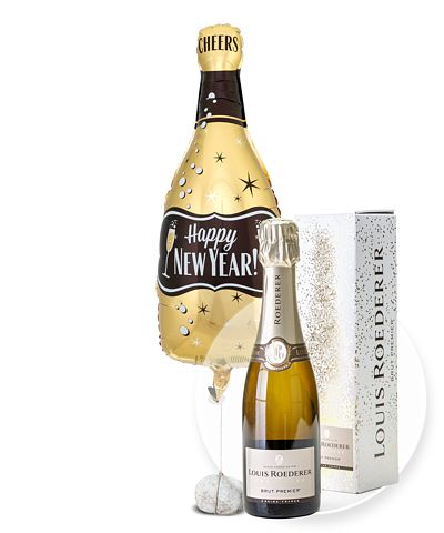 Ballon Happy New Year Bottle und Champagner Louis Roederer Brut Premier