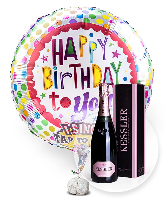 Singender Ballon Happy Birthday to You! und Kessler Rose Sekt - jetzt bestellen bei Valentins